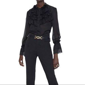 Zara Black Sheer Ruffle Shirt Sz M